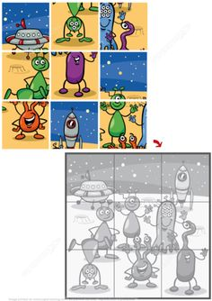 Jigsaw Puzzle with Funny Aliens Puzzle games Cool Jigsaw Puzzles, Puzzle Games For Kids, Puzzles For Kids, Dots And Boxes, Preschool Puzzles, Magic Squares, Aliens Funny, School Posters, Games