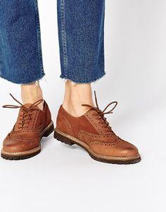 ALDO Mearian Tan Flat Brogue Shoes at ASOS. Tan Brogues, Wingtip Shoes, Oxfords, Ballerinas, Der Gentleman, Shoe Boots, Shoes Heels, Tan Flats, Fashion Flats