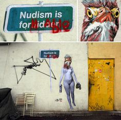 """Nudism is Formidable"" at Naschmarkt in Vienna"
