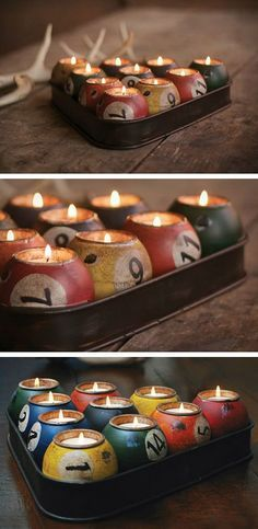 Pool Ball Candle Holder.