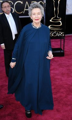 Emmanuelle Riva in Lanvin at Oscars 2013- I love the simple but stunning jewellery. I would add heels and maybe pull in the waist of the dress under the coat with a brooch?