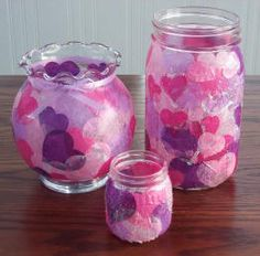 Tissue paper vases! So easy! Modge Podge glue, tissue paper, and a vase...that's all you need!