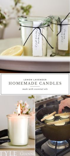Homemade candles with essential oils DIY Lemon Lavender Candle - Boxwood AveLearn how to make homemade candles with this DIY candle tutorial! These completely natural homemade candles smell with essential oils! Grünleben Home candles Diy Candles Tutorial, Diy Candles Easy, Diy Candle Ideas, Diy Candle Crafts, How To Make Candels, Make Candles, Diy Candels, Diy Marble, Velas Diy