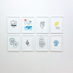 """""""What do dolphins look like?"""" """"Don't ask a lemon if it's sour."""" """"I'm with stupid -> That would be me!"""" Installation view from Galleri 21. 🍋🍋🍋 #emmaphilipson #galleri21 #dolphins #gallerywall"""