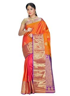 Buy Tri Colored Pure Silk Saree online from the wide collection of Saree.  This Orange,  Pink,  Purple  colored Saree in Pure Silk  fabric goes well with any occasion. Shop online Designer Saree from cbazaar at the lowest price.