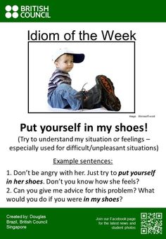 Idioms: Put yourself in my shoes. Advanced English Vocabulary, English Vocabulary Words, English Phrases, English Idioms, English Lessons, English Grammar, Interesting English Words, Learn English Words, Everyday English