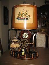 Large Vintage Ships Wheel Nautical Table Lamp Hand Crafted Nautical Interior, Nautical Table, Ship Wheel, Midcentury Modern, Liquor Cabinet, Interior Decorating, Table Lamp, Ships, Crafts