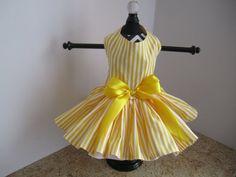 Dog Dress XS Yellow Stripes By Nina's by NinasCoutureCloset