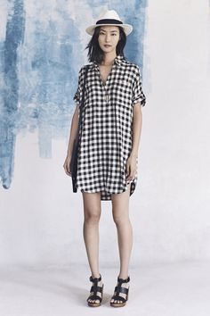 madewell spring 2016 #everydaymadewell. black and white gingham dress, madewell & biltmore® panama hat + heeled leather sandals.