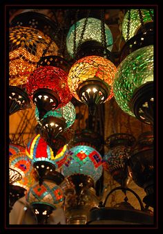 Colorful hanging lights in Istanbul - at one of the largest covered markets in the world with more than 58 streets and 6,000 shops, with between 250,000 and 400,000 visitors daily.