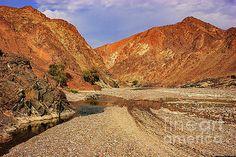 Oman - Wadi or dry riverbed in Arabian desert. by Devasahayam Chandra Dhas
