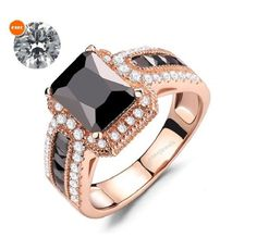 Cushion Cut Black AAA Diamond 925 Silver Women's Bridal Ring Set With Free Gift #aonejewels