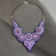 Wandering lights soutache necklace embroidery by ArtsusKorneliaSus, $195.00