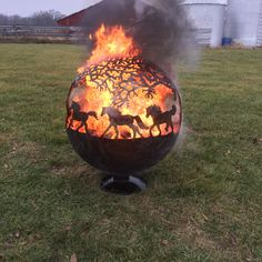Fire Pit sphere globe with horses by TomsFirePits on Etsy https://www.etsy.com/listing/217144374/fire-pit-sphere-globe-with-horses