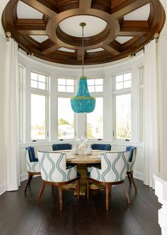 Breakfast Room Circular Coffered Ceiling. Breakfast Nook Coffered Ceiling. Breakfast Nook Coffered Ceiling Millwork #BreakfastNook #CofferedCeiling Echelon Custom Homes