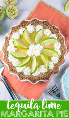 Tequila Lime Margarita Pie: Enjoy Your Margarita In Dessert Form, With A Silky Smooth Lime Custard Made With Tequila And Triple Sec And A Salted Graham Crust. Make Ahead For Easy Entertaining Margarita Pie, Lime Margarita Recipe, Margarita Recipes, Dessert Simple, Triple Sec, Tart Recipes, Best Dessert Recipes, Lunch Recipes, Summer Recipes