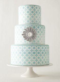 Jonathan Adler aqua squares geometric cake by Erica OBrien Cake Design