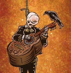 Day of the Dead Artist David Lozeau, One More Song, David Lozeau Dia de los Muertos Art - 1 Mais Los Muertos Tattoo, Art Tumblr, Latino Art, Day Of The Dead Art, Skeleton Art, Chicano Art, Mexican Art, Skull Art, Dark Art