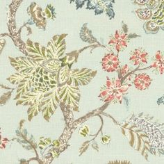 Pale Aqua Delicate Floral Linen Fabric | On the Bright Side : Chalk Blue | Loom Decor