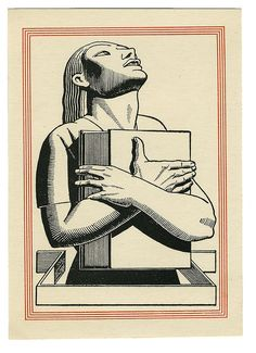 Rockwell Kent (1882-1971), American / bookplate depicting heroic figure clutching a large book