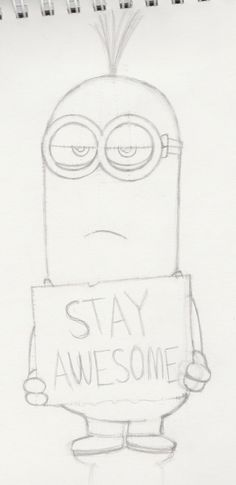 I'm drawing this as a gift to my little brother, Michael, who loves the minions from Despicable Me. Him and I are both really excited for the Minions mo. Disney Character Drawings, Disney Drawings Sketches, Easy Cartoon Drawings, Girl Drawing Sketches, Cute Easy Drawings, Art Drawings Sketches Simple, Pencil Art Drawings, Cartoon Pencil Sketches, Beautiful Easy Drawings