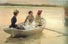 Albert Edelfelt, the girls in the boat, 1881