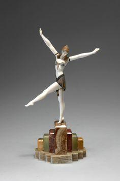 """* Demetre H. Chiparus (Romanian 1886 - 1947), Paris, """"Danseuse de Palmvra"""", Sculpture, Cold-painted, Patinated Bronze, Ivory and Onyx Base, 1925."""