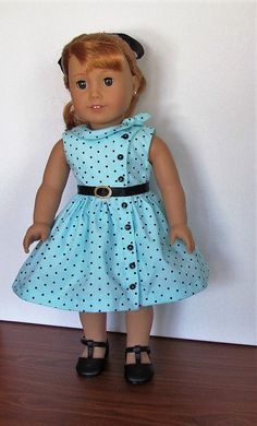 Turquoise and black polka dot side tie Dress, Petticoat , Belt and hair ribbon for AG dolls, by MySewYouCreations on Etsy. $28.00