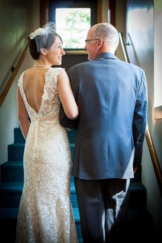 A bride and her father right before the ceremony! Photo by Jane Wiggins Photography.