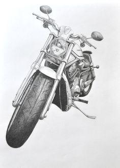 harley-davidson v-rod, my art, pencil, motorcycle drawing Artist: Ekaterina Ilina #harleydavidsonstreetrod