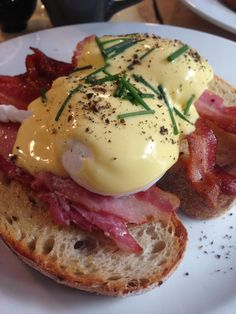 [OC] Poached Eggs on Bacon #recipes #food #cooking #delicious #foodie #foodrecipes #cook #recipe #health