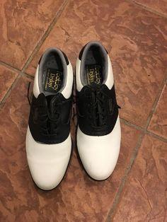 FOOTJOY GOLF SHOE DRYJOY BLACK AND WHITE SADDLE SHOE INTELLIGEL FIT-BED 8N #FootJoy