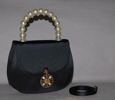 Authentic Celine Vintage Black Satin Duchesse 2 Way Evening Bag $648.00 USD