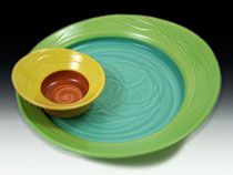 the large plate reminds me of a imperial jasper: server set in spring by marge margulies pottery