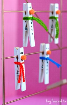Add some personality to wooden clothespins by transforming them into cute snowmen. Courtesy of Easy Peasy and Fun, this winter craft is simple enough for most skill levels and is a creative way to decorate the home. Click in for the complete guide.