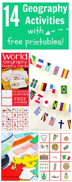 14 geography activities with free printables for kids! #geography #world #geographylessons #geographycurriculum #globe #globalstudies #traveltheworld #geographycraftsforkids #geographybingo #globebingo #worldlessons #freeprintablesforteachers