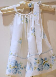 Toddler Shabby Chic Blue Floral vintage pillowcase dress..