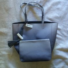 """NWT!  Ombré tote with matching clutch Faux leather tote bag and clutch. Clutch: zipped opening featuring 5"""" tassle   Size: 11""""L x 7"""" W. Tote: 12-1/2"""" L x 13"""" W.  This does not have any inside or outside pockets and is an open style meaning it does not have a button or zipper closure.  Selling as a set.  ❌No Trades.  Price firm unless bundled. Old Navy Bags Totes"""
