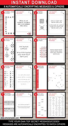 Spy Party Games - 8 Printable Secret Codes & Ciphers | Editable DIY Template | Secret Codes for kids | via SIMONEmadeit.com