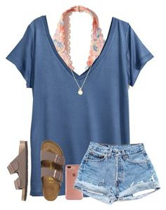 """OOTD: Contest ((:"" by arieannahicks ❤ liked on Polyvore featuring Hollister Co., H&M, Speck, Sydney Evan and Birkenstock"