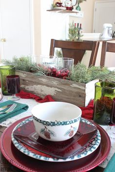 Red And Green Christmas Tablescape. Check out how simple this beautiful tablescape was to create - CURB TO REFURB