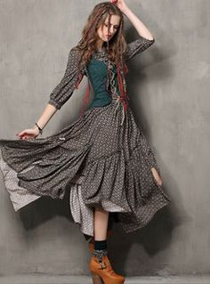Vintage Embroidery Stand Collar Asymmetric Maxi Dress