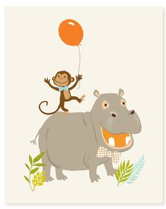 Monkey and Hippo 8x10  art print by SeaUrchinStudio on Etsy, $15.00
