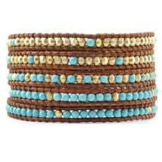 Turquoise and Gold Wrap Bracelet on Natural Brown Leather