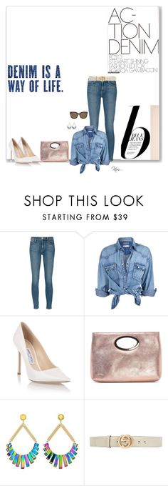 """""""Denim....and white pumps"""" by ksims-1 ❤ liked on Polyvore featuring Nico, Frame, Soul Cal, Jimmy Choo, Donald J Pliner, Vanessa Mooney and Gucci"""