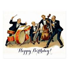 Shop Vintage Jazz band festive retro Happy Birthday Postcard created by kikiwayVintage. Retro Happy Birthday, Happy Birthday Typography, Happy Birthday Best Friend, Happy Birthday Wishes Quotes, Happy Birthday Signs, Happy Birthday Images, Happy Birthday Greetings, Birthday Ideas, Birthday Quotes
