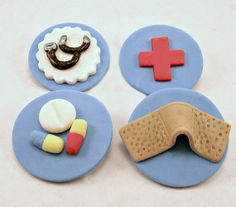 Just what the Dr. ordered! Darling set of Drs/Nurses kits! Set of 12 (one dozen) 3 of each Fondant Cupcake, Cake, Cookie Toppers.