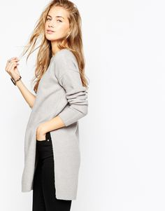 Image 1 of ASOS Tunic Sweater With Side Splits