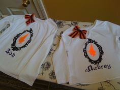 halloween shirts for the girls made with freezer paper