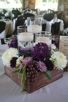 With so many rustic wooden box centerpiece ideas, it's easy to find a project that fits your home perfectly. Enjoy the best designs for Rustic Table Centerpieces, Wooden Box Centerpiece, Flower Centerpieces, Centerpiece Ideas, Elegant Centerpieces, Purple Centerpiece, Rustic Vases, Flowers Decoration, Rustic Wooden Box